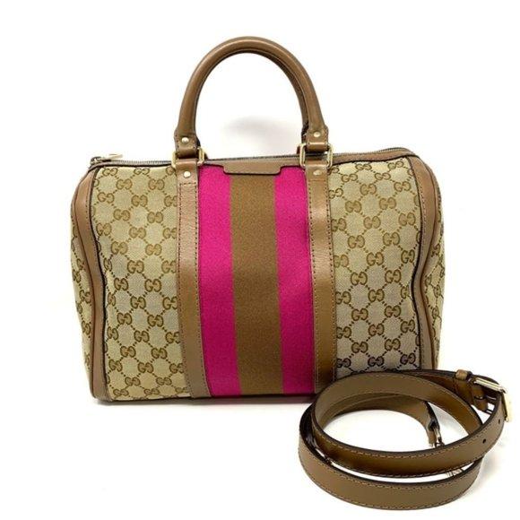 Gucci Handbags - 100% Auth Gucci Canvas Boston Medium Crossbody Bag